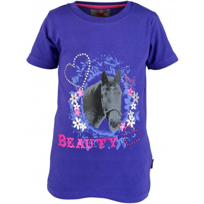 Red Horse T shirt Met Print Plum